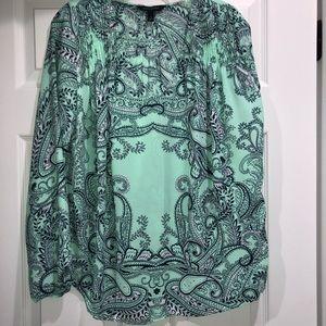 Print long sleeve blouse